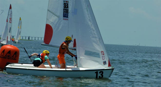 Sam Grahl and Brenna Wetherbee are pictured during the William I. Koch International Sea Scout Cup Race in Galveston, Texas.