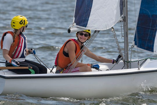 Brenna Wetherbee and  Sam Grahl sail during the William I. Koch International Sea Scout Cup Race in Galveston, Texas.