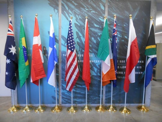 Flags from each country participating were displayed at the William I. Koch International Sea Scout Cup Race.