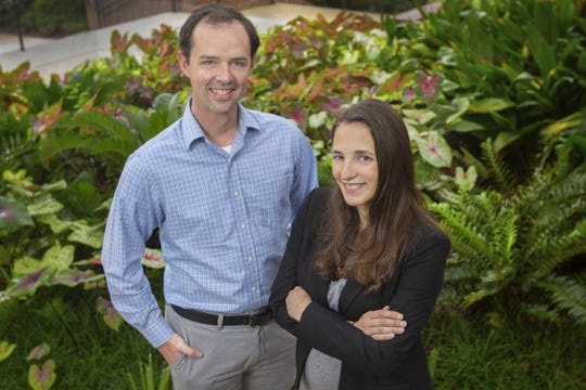 Christopher Holmes, an assistant professor in the department of Earth, Ocean and Atmospheric Science, and Holly Nowell, an EOAS postdoctoral researcher.