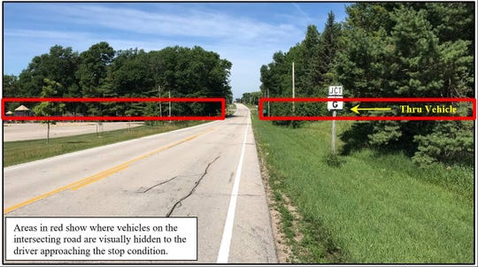 """This photo from Brown County shows how drivers approaching County G near Way-Morr Park and the Morrison Town Hall can't see traffic approaching from the east and west. The county wants to install """"rumble strips"""" at the intersection, but some area residents are objecting."""