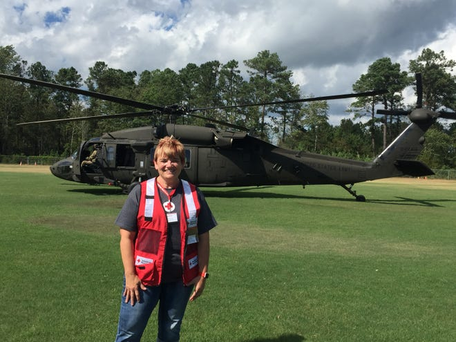 Shellie Creveling of Cascade is in North Carolina helping victims of Hurricane Florence. She was airlifted by Black Hawk helicopter into Shallotte, N.C., from the Raleigh-Durham area because of flood-ravaged roads.