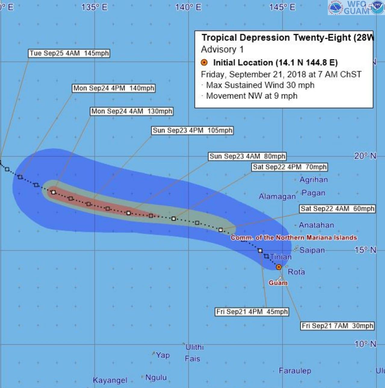 Heavy rain, gusts forecast; flash floods a concern on Guam, Marianas