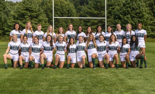 The Dartmouth women's rugby team includes Guam's own Alejandra Ada, shown kneeling, sixth from left.