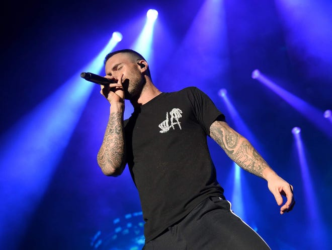 Adam Levine is seen during Maroon 5's April 1 performance as part of the NCAA March Madness Music Festival in San Antonio.