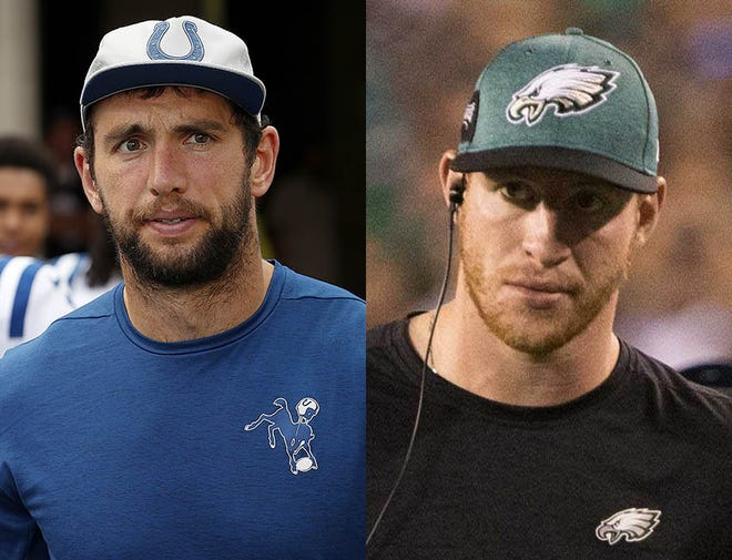Andrew Luck of the Indainapolis Colts (left) and Carson Wentz of the Philadelphia Eagles