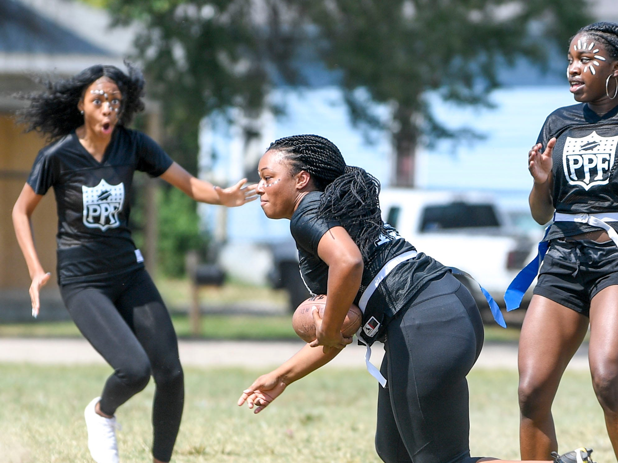 Senior players react to an interception during the 2017 Powder Puff game at Madison Academic High School in Jackson, Tenn., on Friday, Sept. 21, 2018.