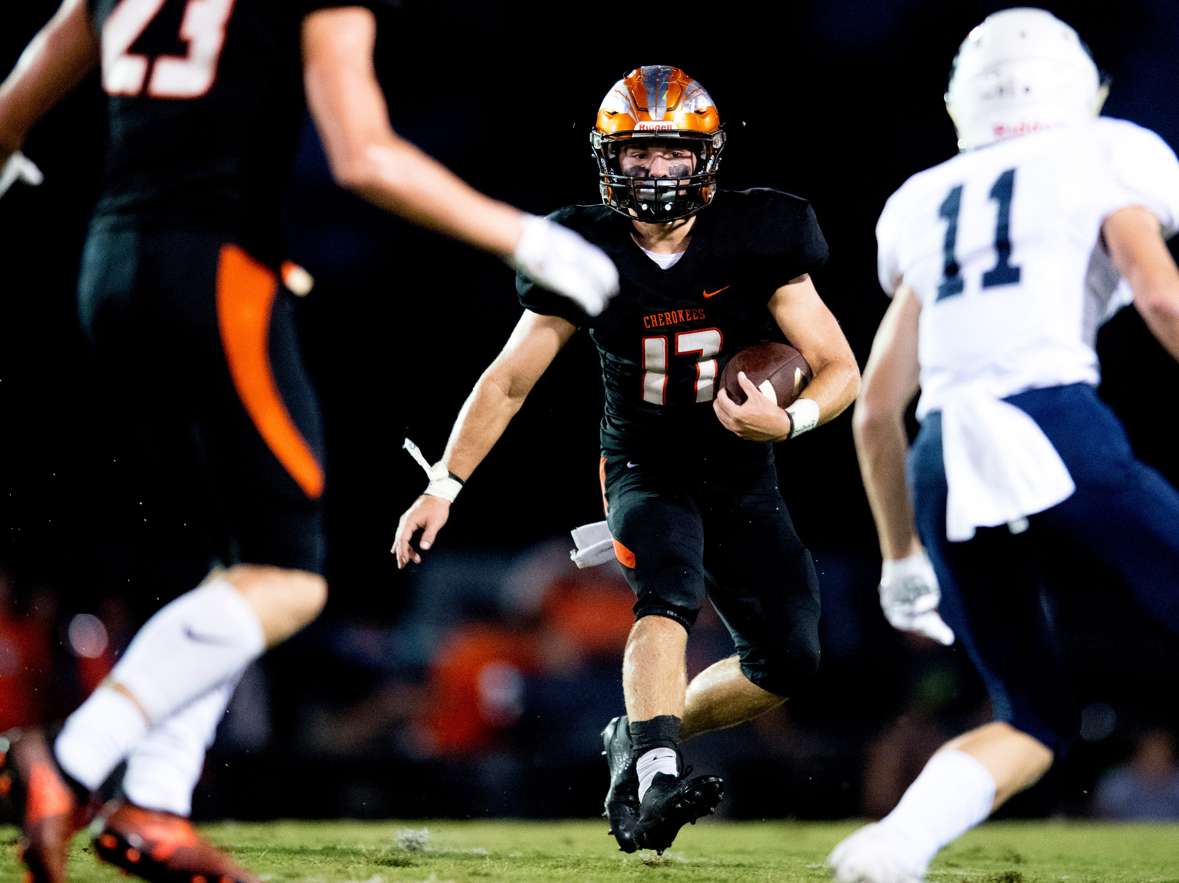 Greenback's Cole Riddle (17) runs with the ball during a football game between Greenback and Grace Christian at Greenback High School in Greenback, Tennessee on Thursday, September 20, 2018.