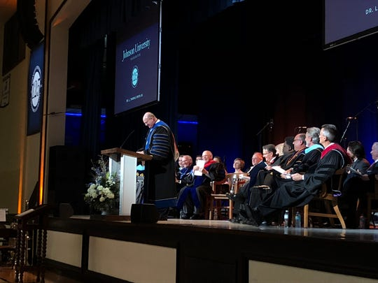 Johnson University's newest president, Thomas Smith Jr., speaks at his inauguration ceremony on Friday. Smith is the university's seventh president.