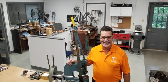 The workshop at Rick Terry Jewelry Designs in Farragut, with Rick Terry.