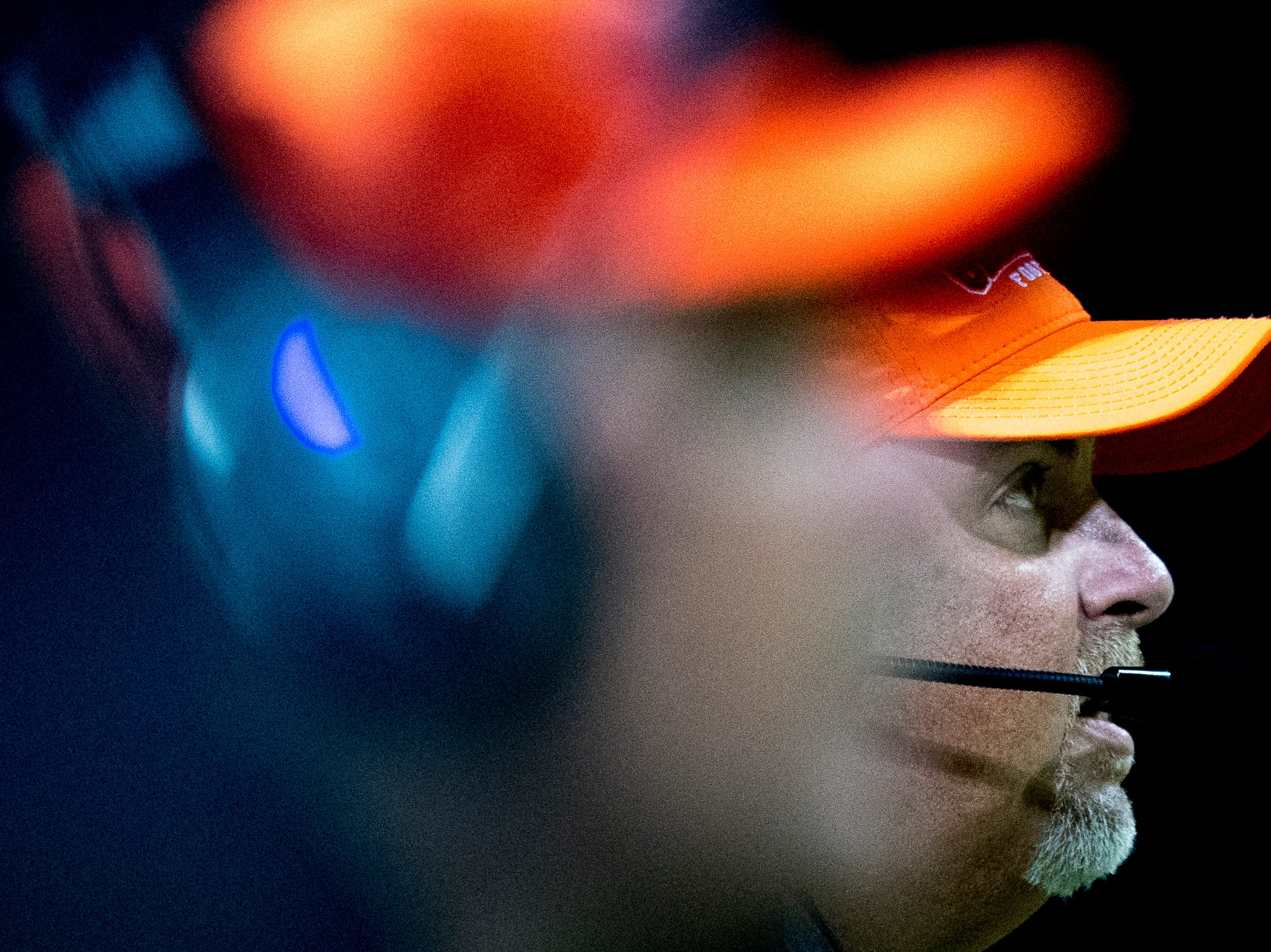Greenback Head Coach Greg Ryan eyes the game during a football game between Greenback and Grace Christian at Greenback High School in Greenback, Tennessee on Thursday, September 20, 2018.