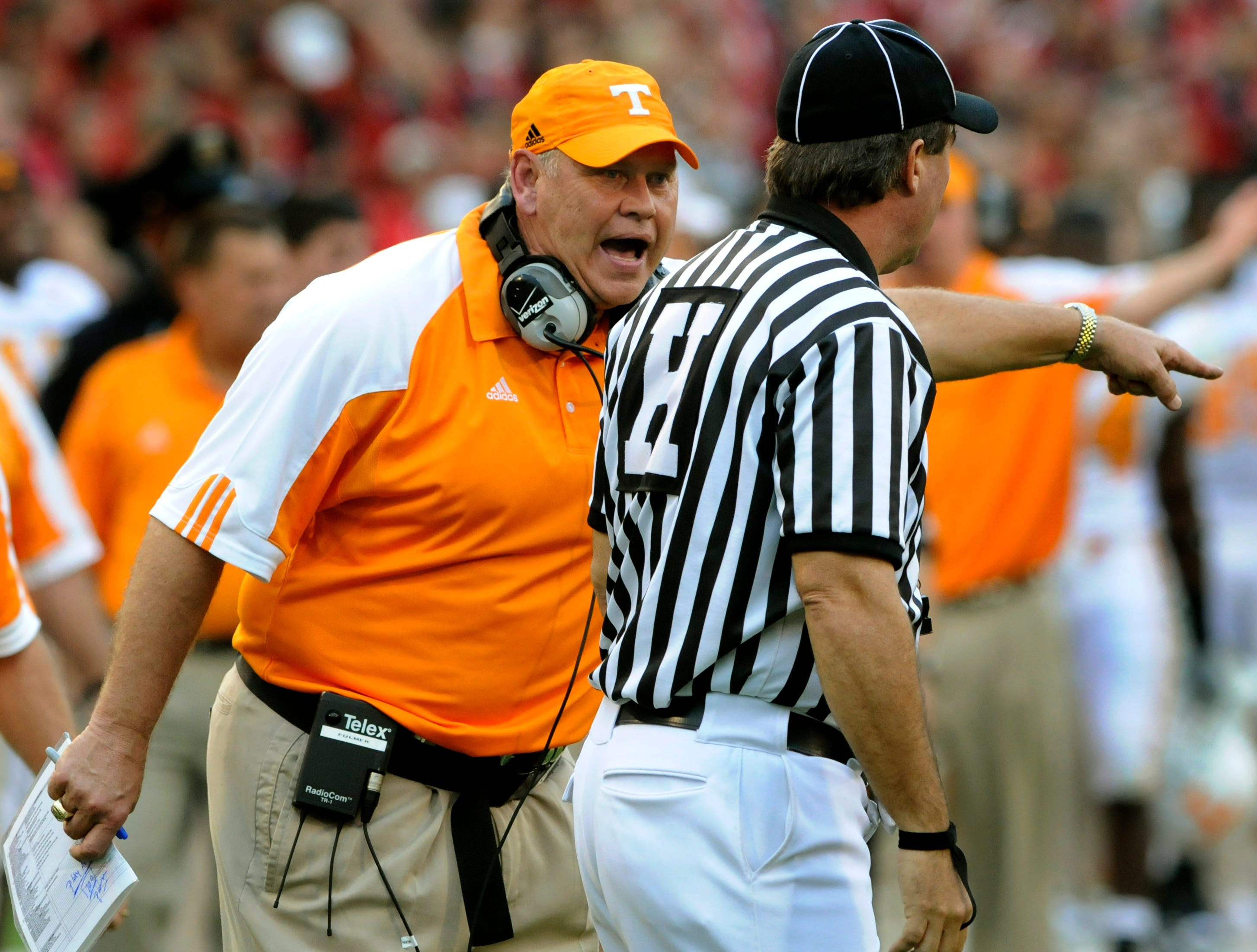 Saturday, October 11, 2008  Tennessee head coach Phillip Fulmer questions an official during second half action against the Georgia Bulldogs Saturday at Sanford Stadium in Athens, GA. Georgia beat Tennessee 26-14.