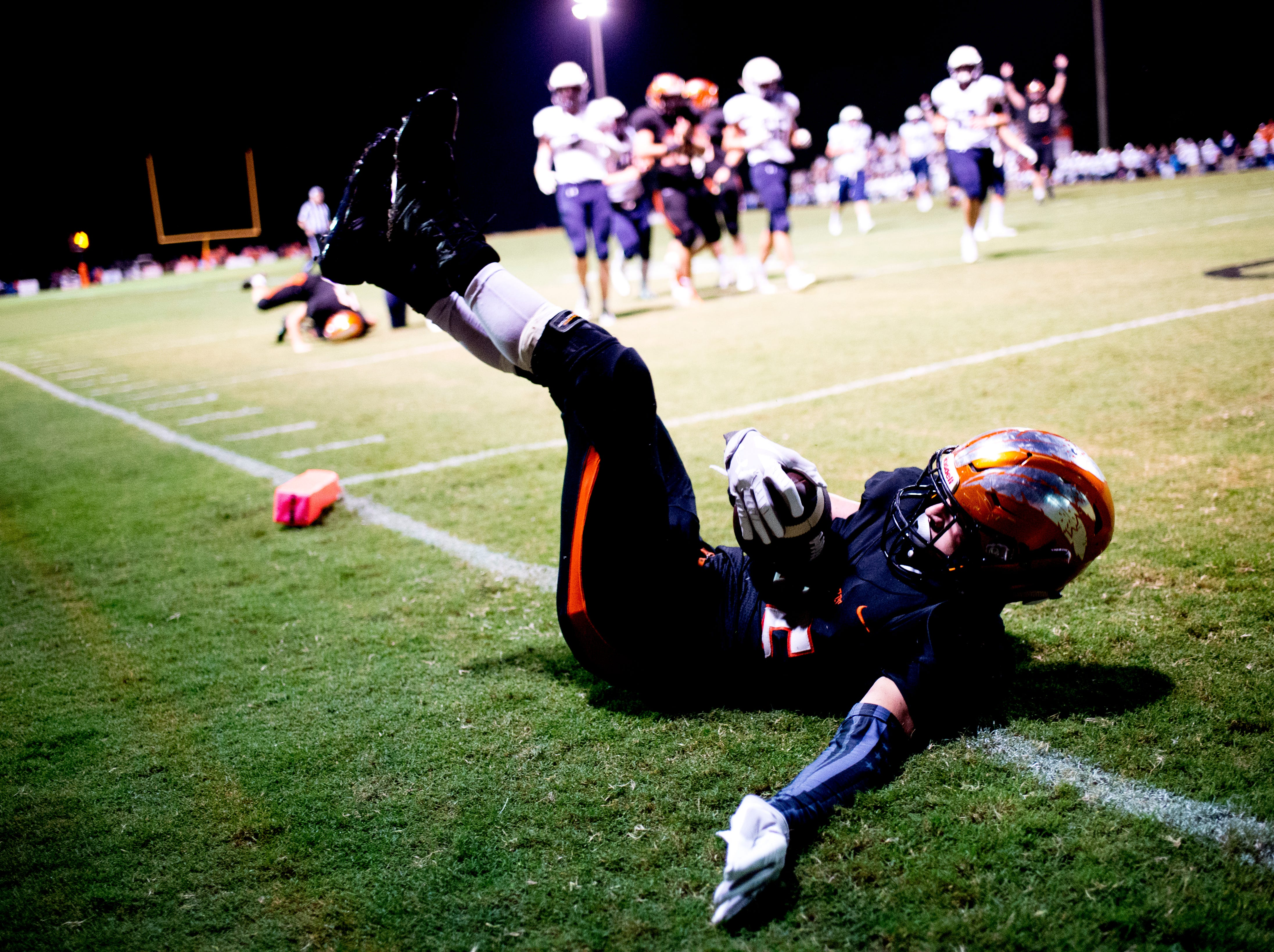 Greenback's Cody Alexander (36) falls into the end zone for a touchdown attempt during a football game between Greenback and Grace Christian at Greenback High School in Greenback, Tennessee on Thursday, September 20, 2018.