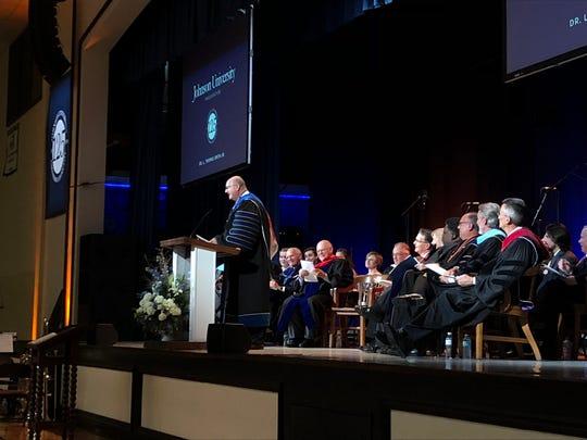 Johnson University's newest president, Thomas Smith Jr., speaks at his inauguration ceremony on Friday. Smith is the university's seventh president.