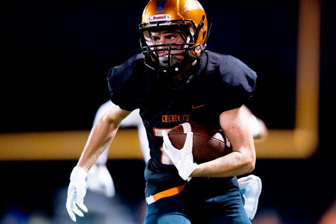 Greenback's Blake Morton (26) runs with the ball during a football game between Greenback and Grace Christian at Greenback High School in Greenback, Tennessee on Thursday, September 20, 2018.