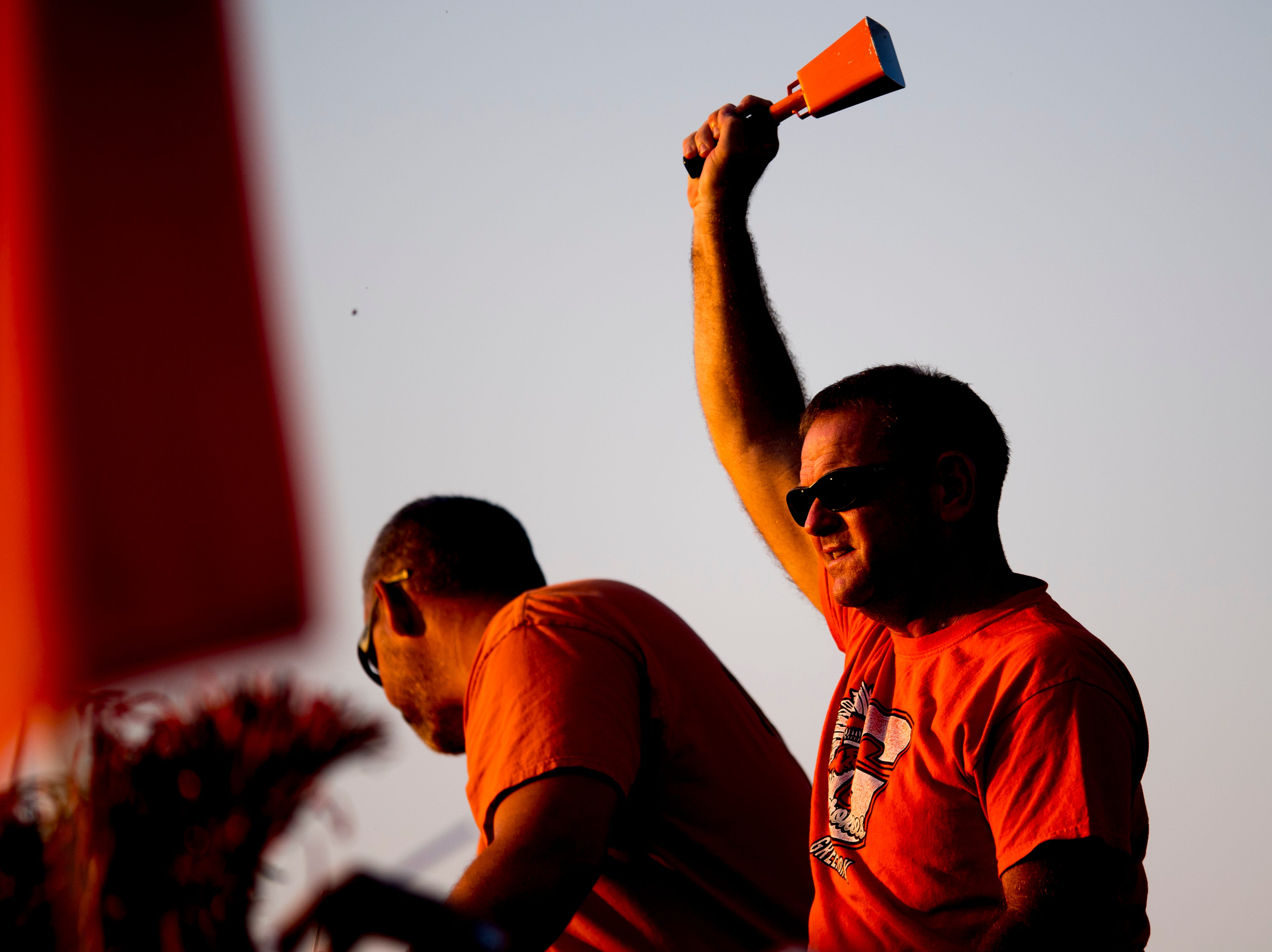 A Greenback fan cheers during a football game between Greenback and Grace Christian at Greenback High School in Greenback, Tennessee on Thursday, September 20, 2018.