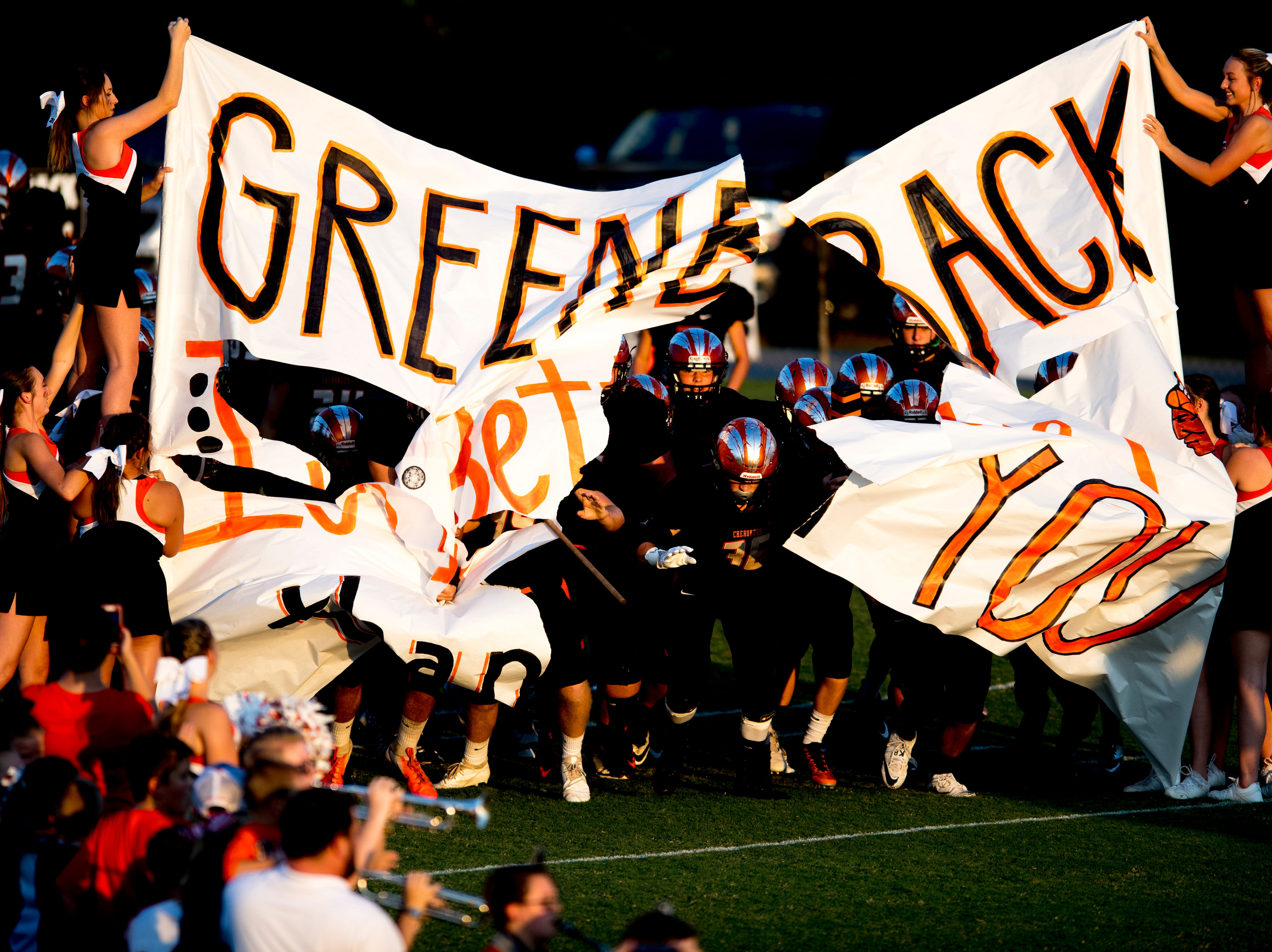 Greenback takes the field during a football game between Greenback and Grace Christian at Greenback High School in Greenback, Tennessee on Thursday, September 20, 2018.