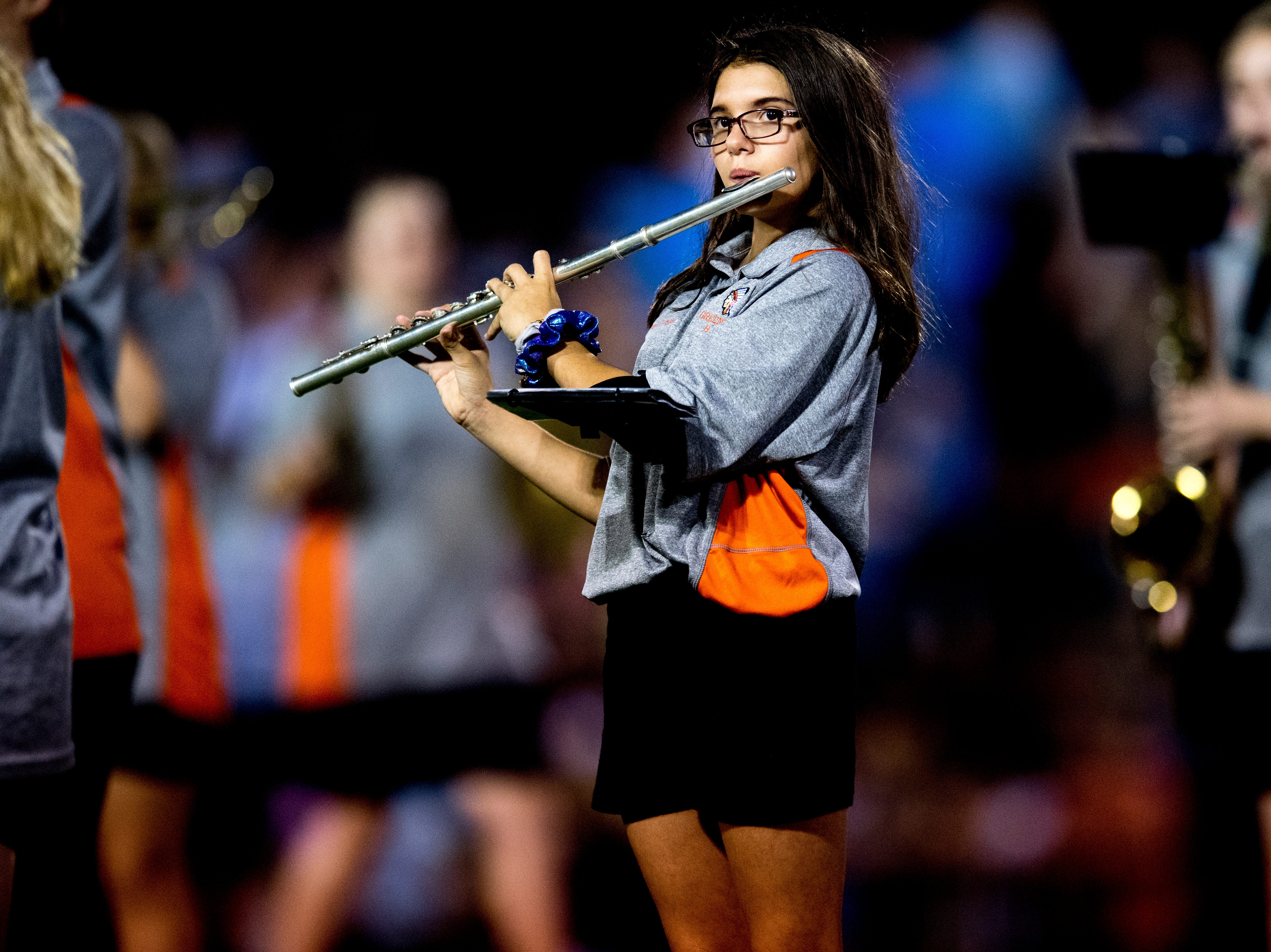 The Greenback marching band performs at halftime during a football game between Greenback and Grace Christian at Greenback High School in Greenback, Tennessee on Thursday, September 20, 2018.