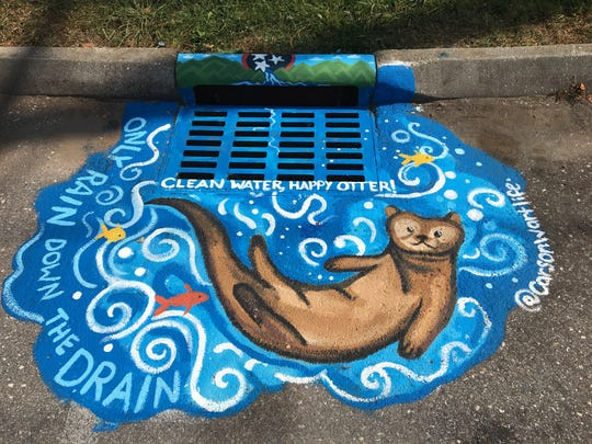 2017 Storm Drain Style-Off winner Carson Whittaker's work at Bearden Branch Library.
