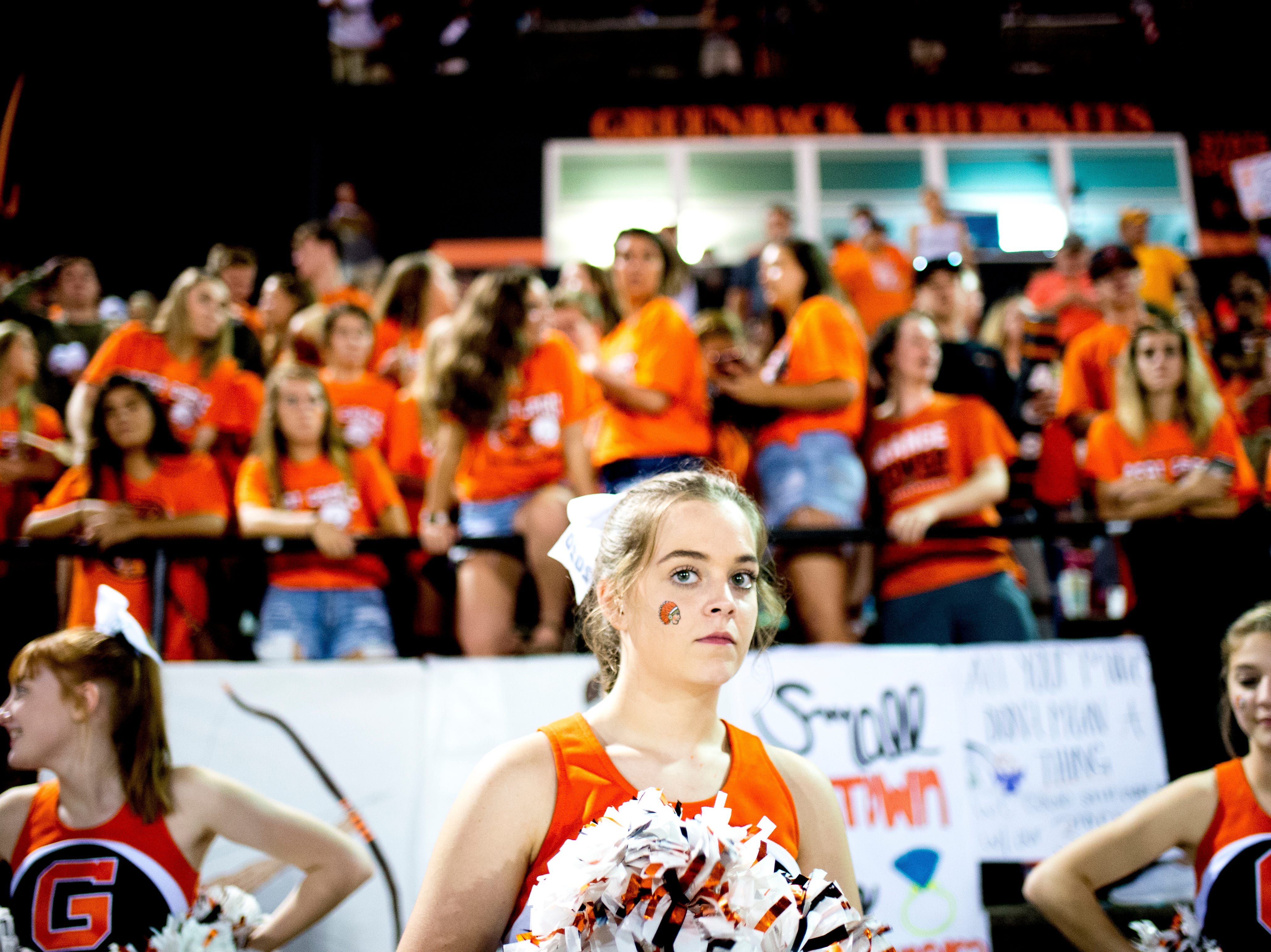 Greenback cheerleaders watch the game during a football game between Greenback and Grace Christian at Greenback High School in Greenback, Tennessee on Thursday, September 20, 2018.