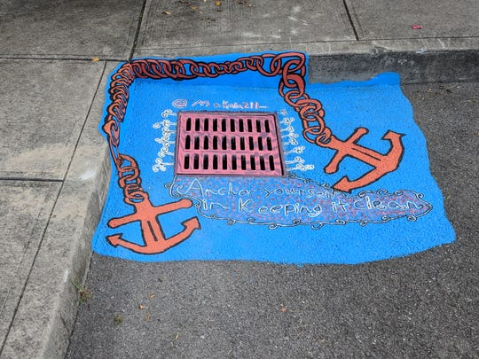 "Storm drain number 7 at Halls Branch Library urges, ""Anchor yourself in keeping it clean."" September 2018."