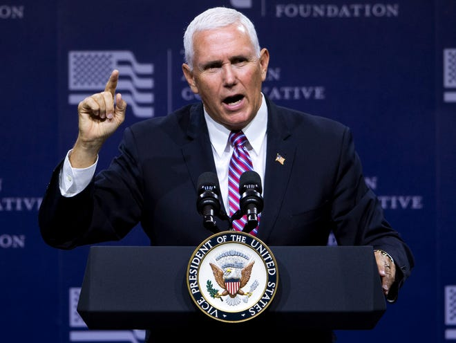 Vice President Mike Pence speaks at the American Conservative Union's CPAC/365 Knoxville event supporting Senate candidate Marsha Blackburn at the Knoxville Convention Center on Friday, September 21, 2018.