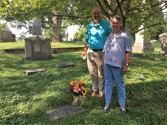 "Will Roberts and his mother, Betsy Snyder Roberts, visit Rothrock's grave. The Roberts' family were close to Rothrock. ""She was like a great-grandmother to Will, and a grandmother to me,"" says Betsy. ""My mother was with her when she died."""