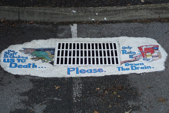 Storm drain number 3 at Fountain City Branch Library, September 2018.