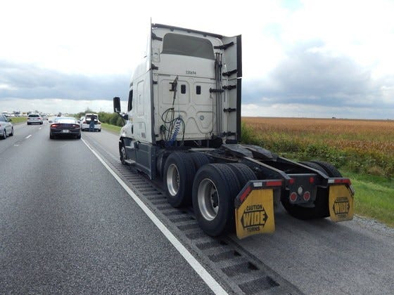 This semi, its front tired flattened by stop sticks, finally pulled over on Interstate 65 south of the Remington exit. The driver, William E. Tumey of Martinsville, refused to pull over and stop, according to Indiana State Police.