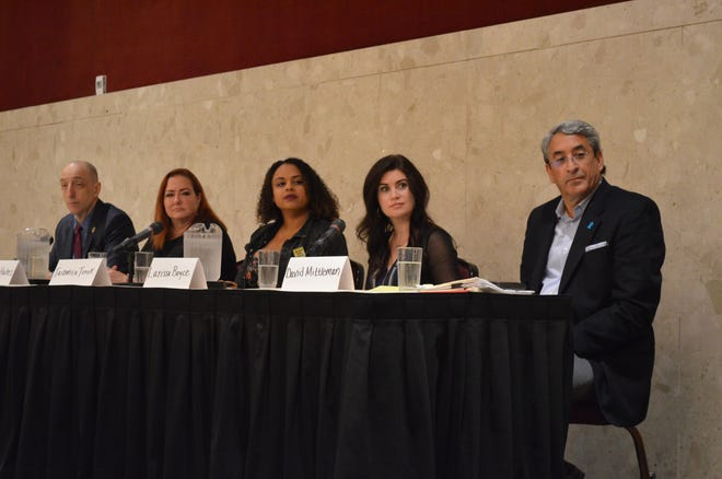From left to write, Jim Clemente, Francey Hakes, Tashmica Torok, Larissa Boyce and David Mittleman participated in a panel on child sexual abuse Friday, Sept. 21, 2018 on the campus of Michigan State University.