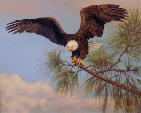 """The Artists' Choice Award and the Viewers' Choice Award for two-dimensional work was awarded to Victoria Hamacheck for her acrylic painting titled """"Mounting Up."""""""