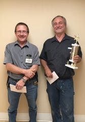 Ron Gosz, of the environmental services maintenance department, was chosen for the Service Excellence Star Award for the month of August at Felician Village. Pictured from left: John Duzeski, maintenance supervisor, and Gosz.