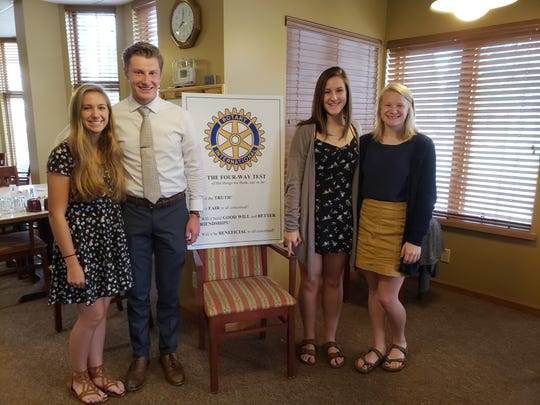 Manitowoc Roncalli students recently shared their experience at the Annual World Affairs Seminar with Manitowoc Sunrise Rotary, which sponsored their attendance.