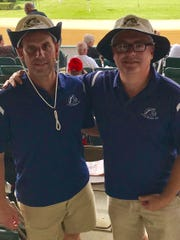"Jamie ""Jimmy"" Stall, left, and Rob McCurdy pose for a photo at Thursday's Little Brown Jug in Delaware. It was their 28th straight year of meeting at the Jug."
