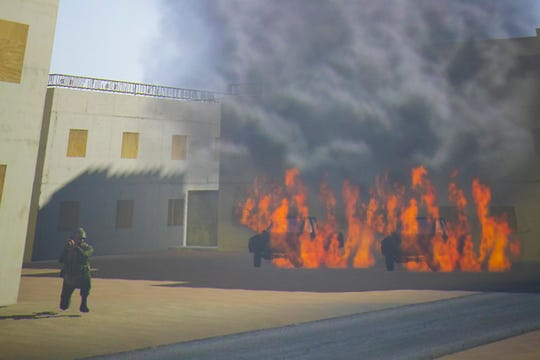 This is a scene from one of the simulators used to re-create combat scenarios.