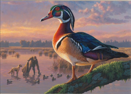 Frank Mittlestadt of Beaver Dam took second place with this acrylic painting of a drake wood duck and a hunter with his dog and decoys.