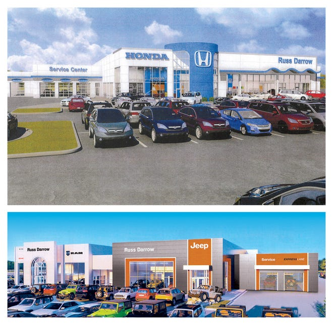 A rendering shows what the new Russ Darrow Honda and Chrysler Jeep Dodge Ram dealerships at the Metro Auto Mall in Milwaukee will look like. The dealerships, spanning just over 10 acres, are moving toward a tentative opening in June 2019 at the auto mall off Highway 41/45 and Good Hope Road.