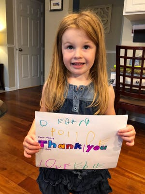 Edie, who is 3 years old, wanted to say thank you to the police officers who responded to the shooting in Middleton Wednesday.