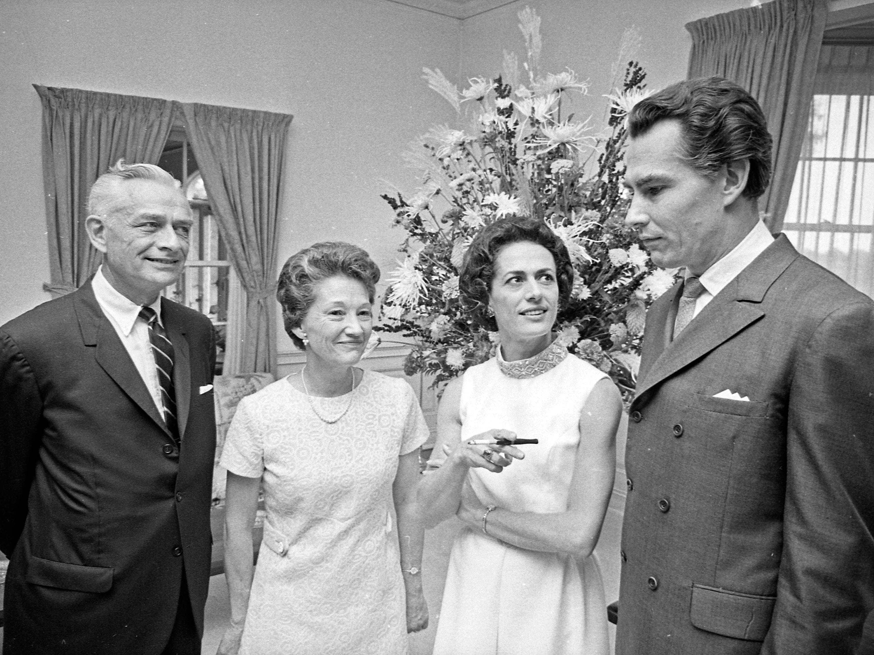 Kenneth Schermerhorn (right) and his wife, Lupe Serrano (second from right) stand with Donald B. Abert and Barbara Abert at a reception for Schermerhorn, the Milwaukee Symphony Orchestra's new conductor and music director, at the Milwaukee Country Club on Sept. 8, 1968. At the time, Donald Abert, publisher of The Milwaukee Journal, was president of the Milwaukee Symphony.