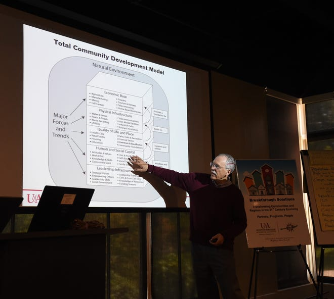 Dr. Mark Peterson, a professor of community and economic development with the University of Arkansas System Division of Agriculture's Cooperative Extension Service, talks about community development on Thursday at Arkansas State University-Mountain Home.