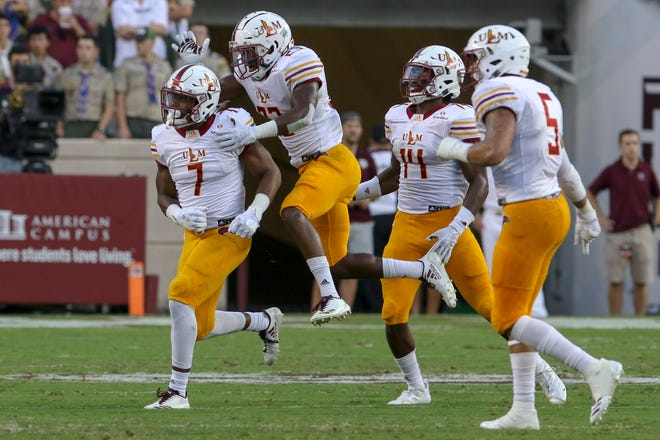 Sep 15, 2018; College Station, TX, USA; Louisiana Monroe Warhawks linebacker Cortez Sisco Jr. (7) celebrates after a sack during the first quarter against the Texas A&M Aggies at Kyle Field. Mandatory Credit: John Glaser-USA TODAY Sports