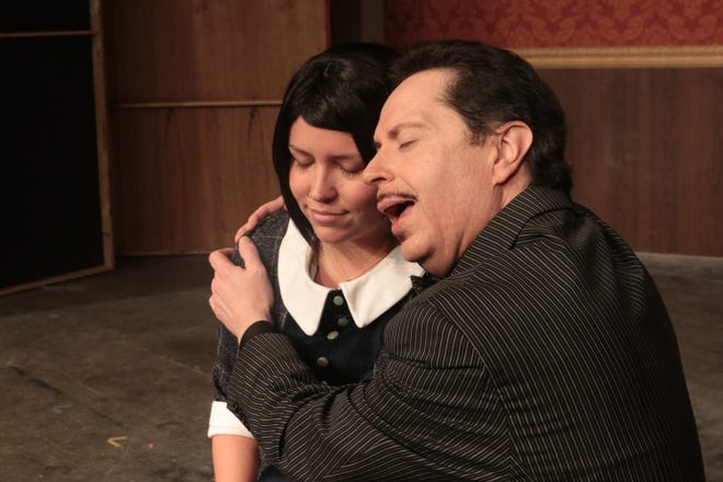 """Gomez Addams (played by Dann Pryce) tries to come to terms with his daughter Wednesday (Meg Murray) and her choice of suitor in a scene from """"The Addams Family.""""  The musical, based on the comic-strip characters created by Charles Addams runs October 5 through 20 at Dover Little Theatre."""