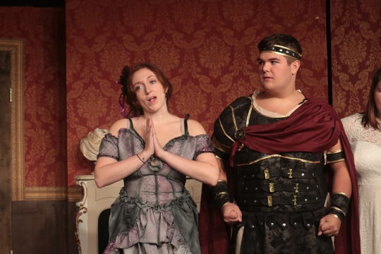 """Kristin Gellner (left) and Will Delargy portray two of the ancestors of """"The Addams Family.""""  The musical version about the eccentric household opens at Dover Little Theatre on Friday, October 5."""