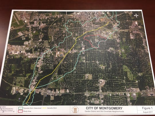 A map of a 3,000 acre watershed the runs through Montgomery