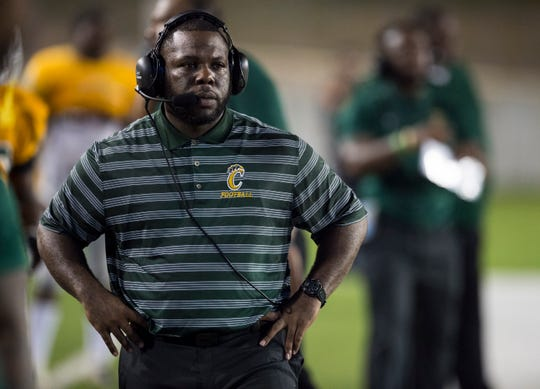 Carver head coach James Thompson watches his team from the sideline at Cramton Bowl in Montgomery, Ala., on Thursday, Sept. 20, 2018. Carver defeated Dothan 43-7.