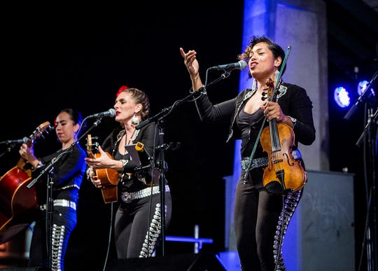 Grammy winners Flor de Toloache, New York City's first and only all-female Mariachi group, play the Levitt Shell on Friday night.
