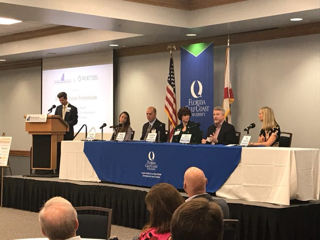 At the annual Real Estate Investment Society held on September 13, 2018 a panel answered questions about Southwest Florida growth and development and the status of our rural lands. The panel from left to right: Kristine Smale, Senior Manager at John Burns Real Estate Consulting,  Michael Swindle, Hendry County Commissioner,  Katherine R. English, partner at Pavese Law Firm, Mitch Hutchcraft, Vice President of Real Estate at King Ranch/Consolidated Citrus, and Tina Ekblad, Partner and Planning Director of Morris-Depew Associates.
