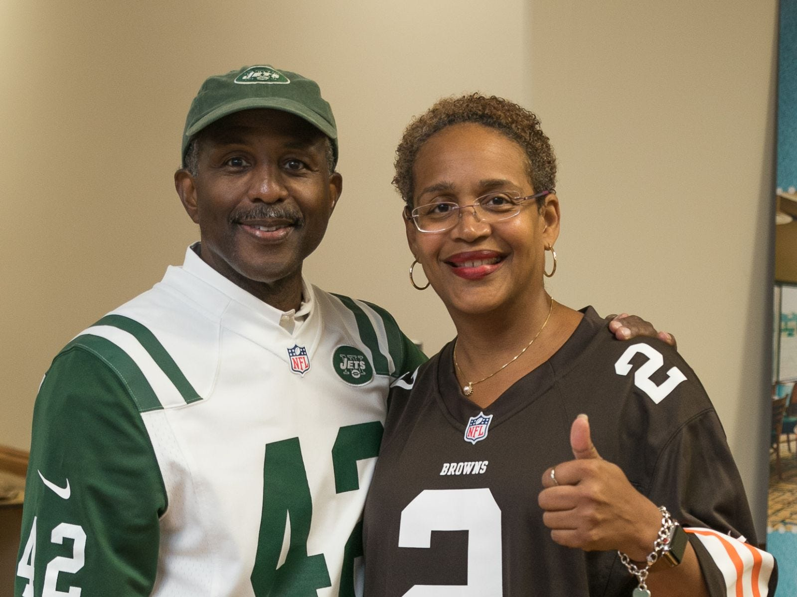 Former NY Jet - Bruce Harper, Kimberly Cummings. Englewood Health hosted its Men's Health and Football event with former Jets and Giants players and Don La Greca from ESPN radio. Attendees watched the Thursday night football game while receiving advice about staying healthy and tackling health problems early on. 09/20/2018
