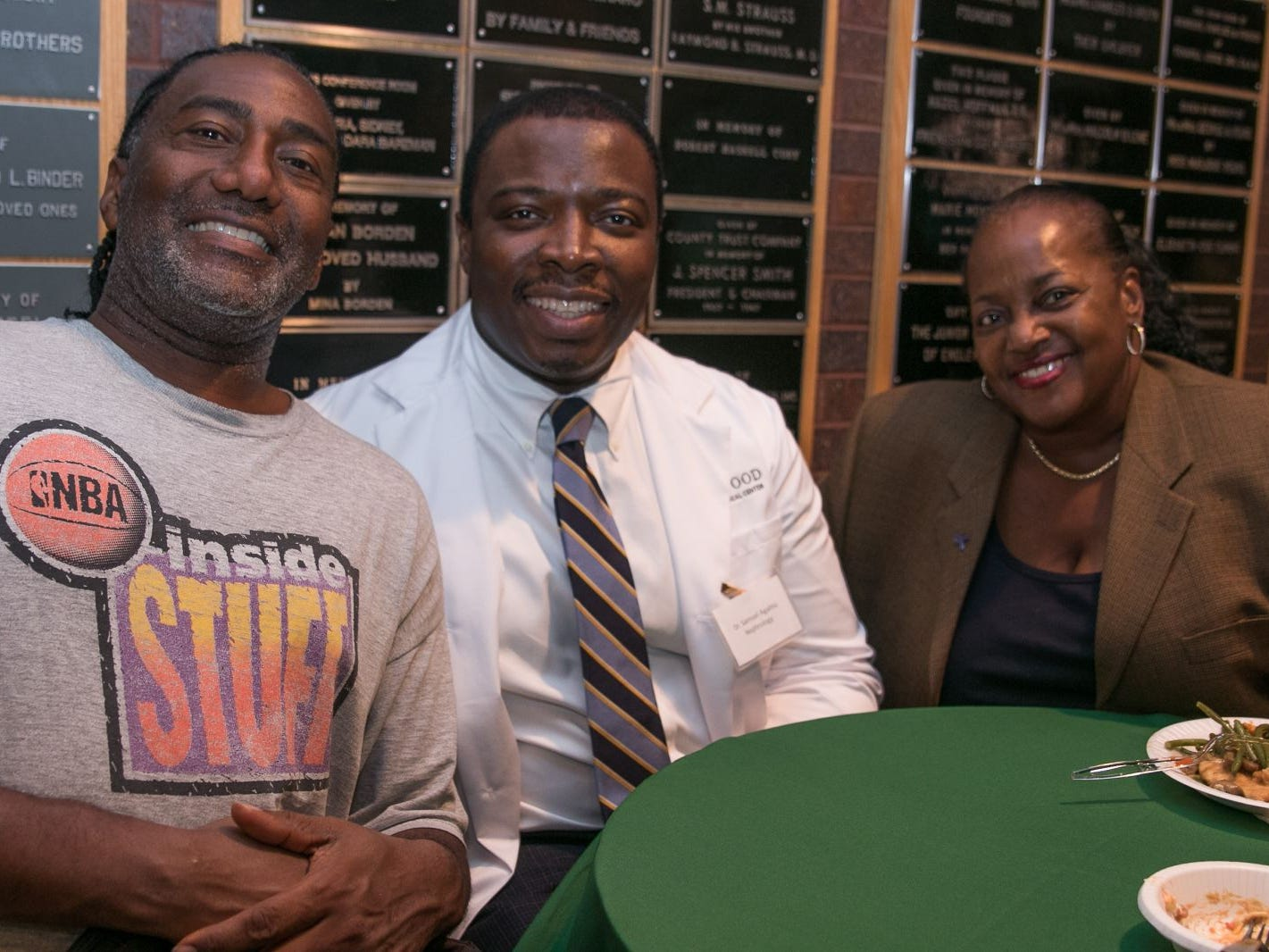 Joe Thomas, Dr. Samuel Agahiu, Karen Waters. Englewood Health hosted its Men's Health and Football event with former Jets and Giants players and Don La Greca from ESPN radio. Attendees watched the Thursday night football game while receiving advice about staying healthy and tackling health problems early on. 09/20/2018