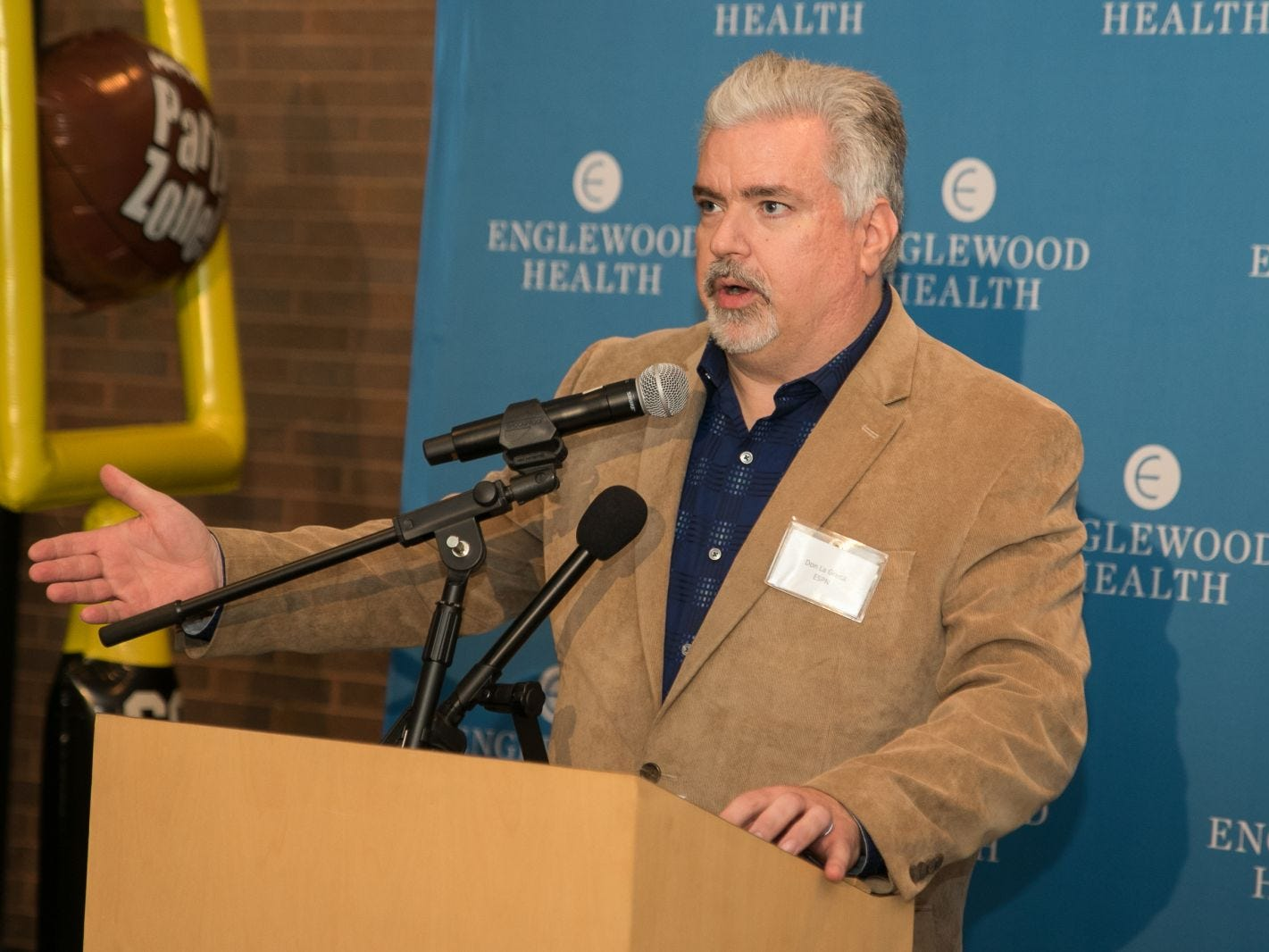 Don La Greca of  ESPN radio. Englewood Health hosted its Men's Health and Football event with former Jets and Giants players and Don La Greca from ESPN radio. Attendees watched the Thursday night football game while receiving advice about staying healthy and tackling health problems early on. 09/20/2018